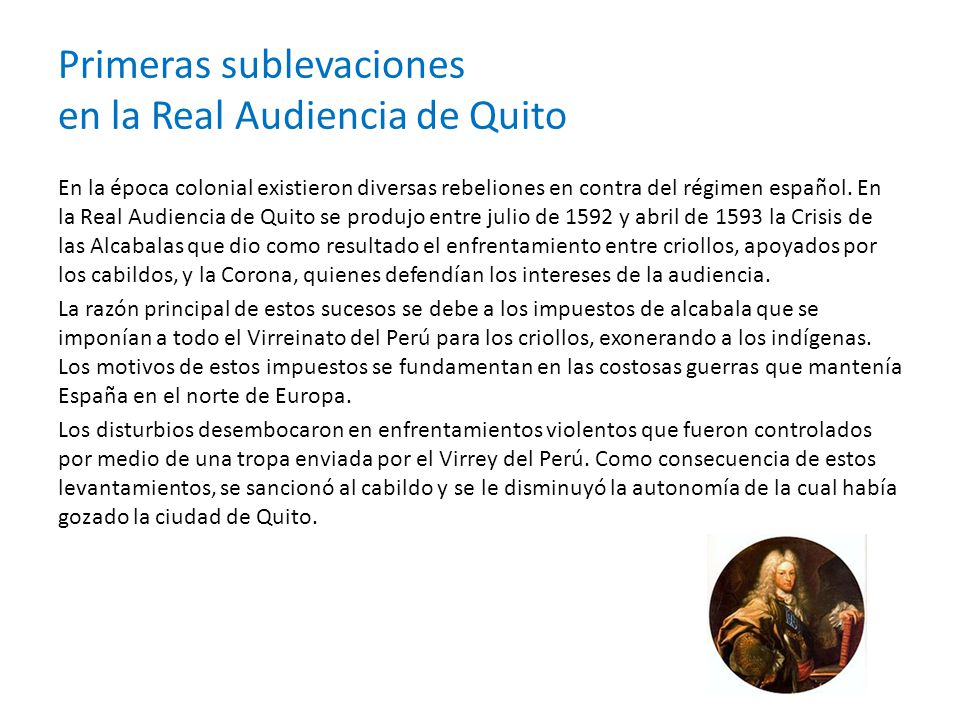 Primeras sublevaciones en la Real Audiencia de Quito