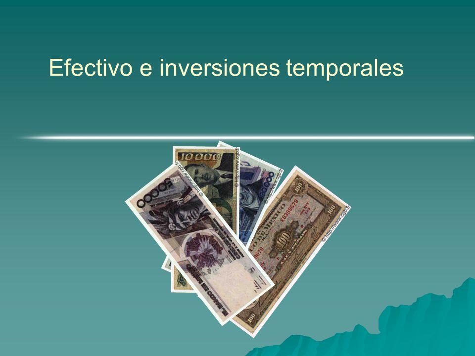 Efectivo e inversiones temporales