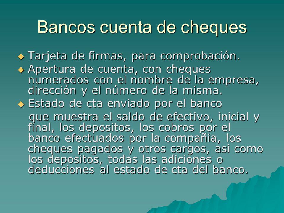 Bancos cuenta de cheques