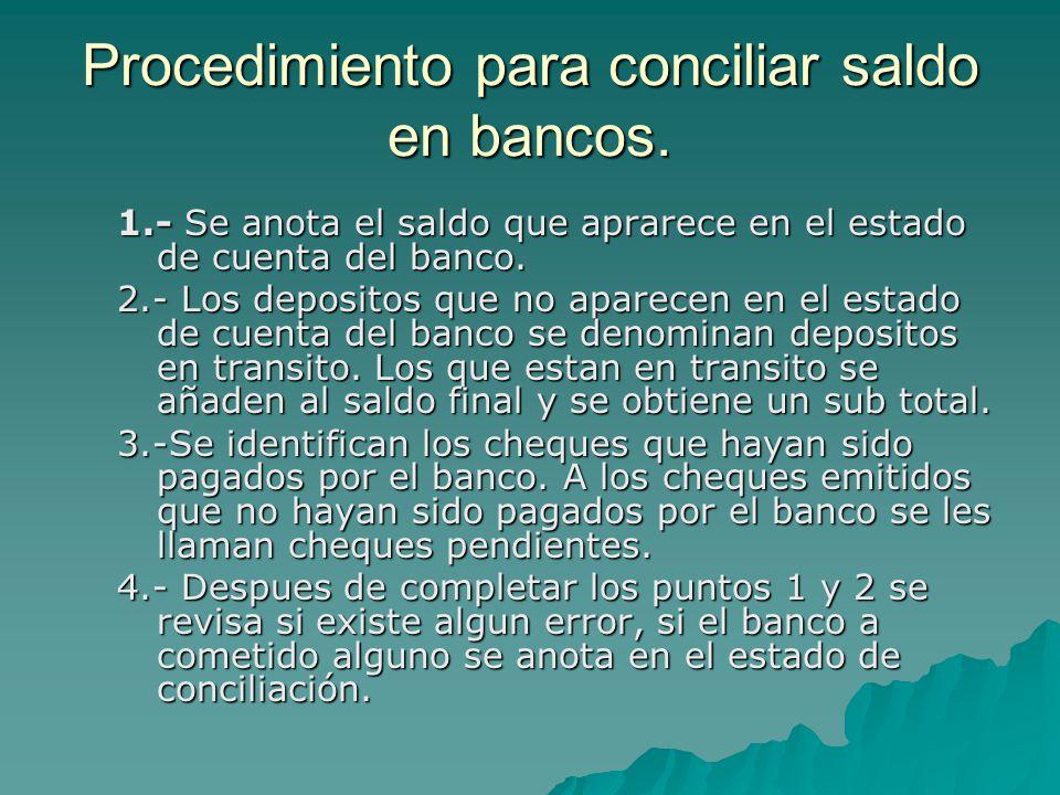 Procedimiento para conciliar saldo en bancos.