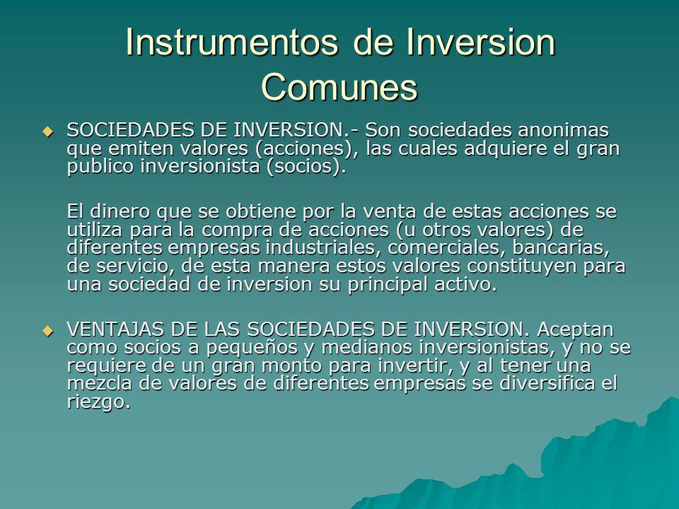 Instrumentos de Inversion Comunes