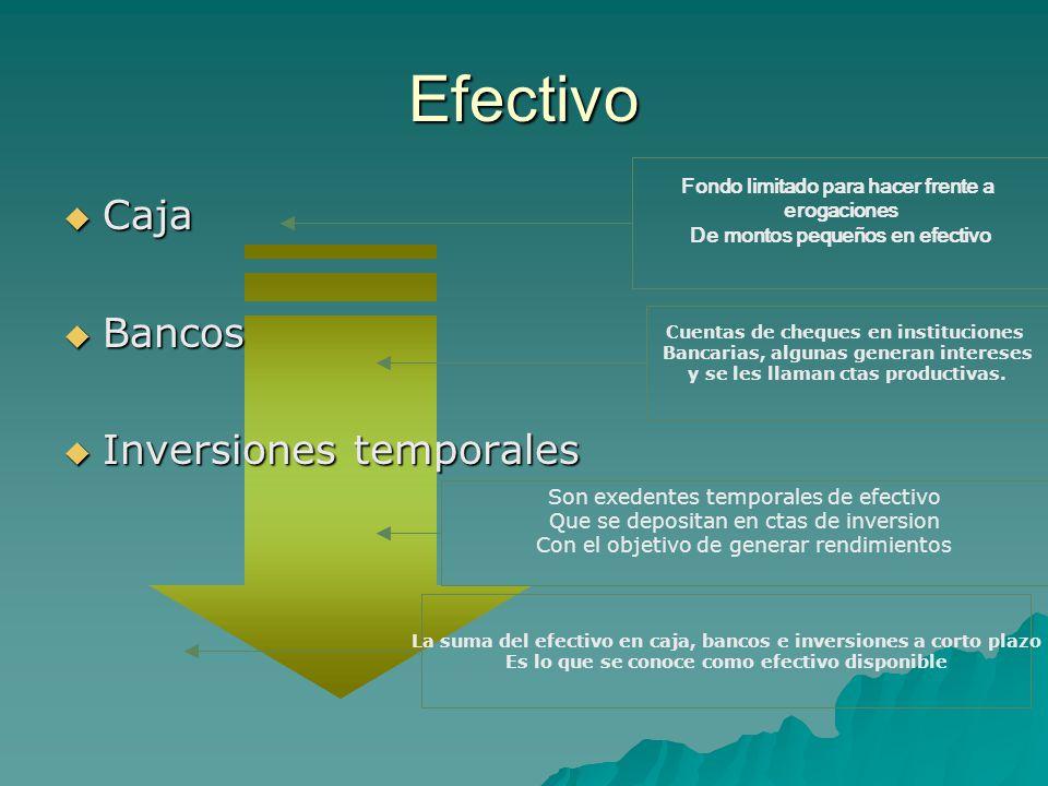 Efectivo Caja Bancos Inversiones temporales