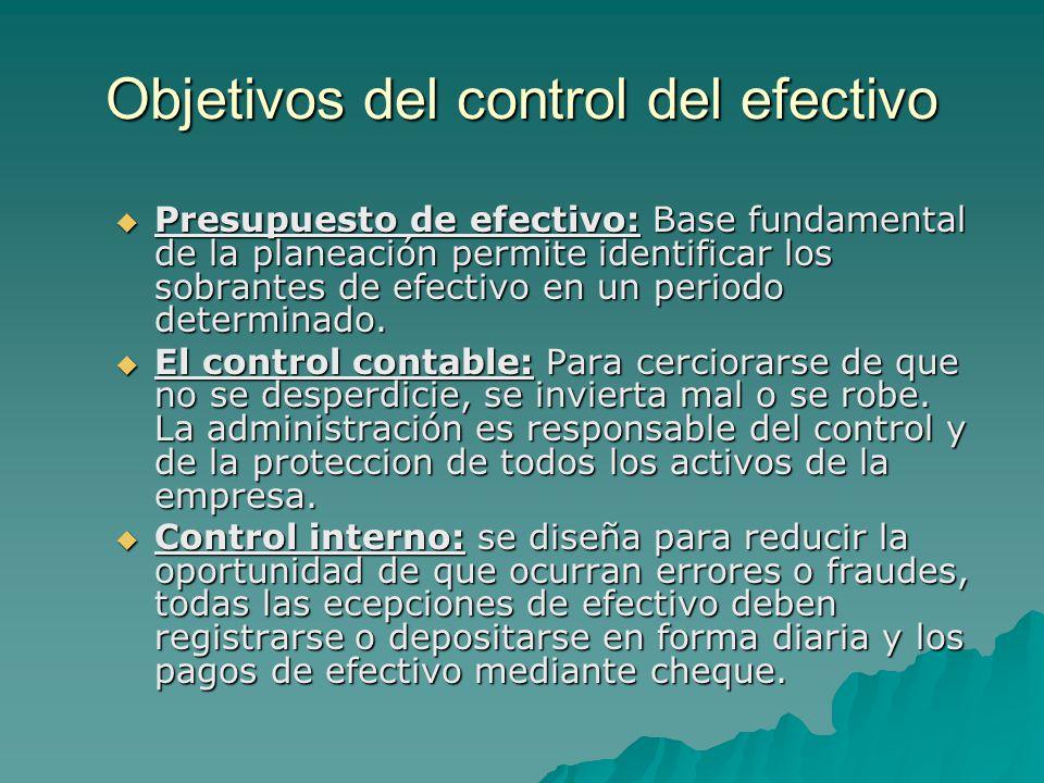 Objetivos del control del efectivo