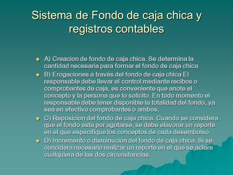 Sistema de Fondo de caja chica y registros contables