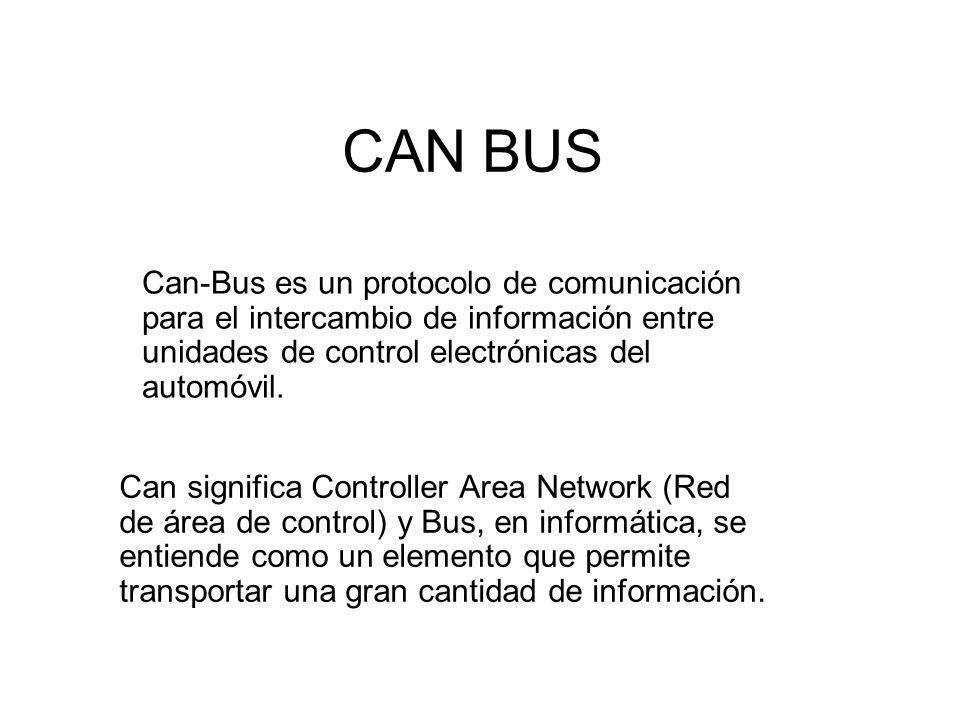 CAN BUS Can-Bus es un protocolo de comunicación para el intercambio de información entre unidades de control electrónicas del automóvil.