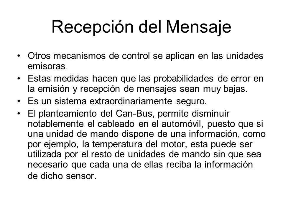 Recepción del Mensaje Otros mecanismos de control se aplican en las unidades emisoras.