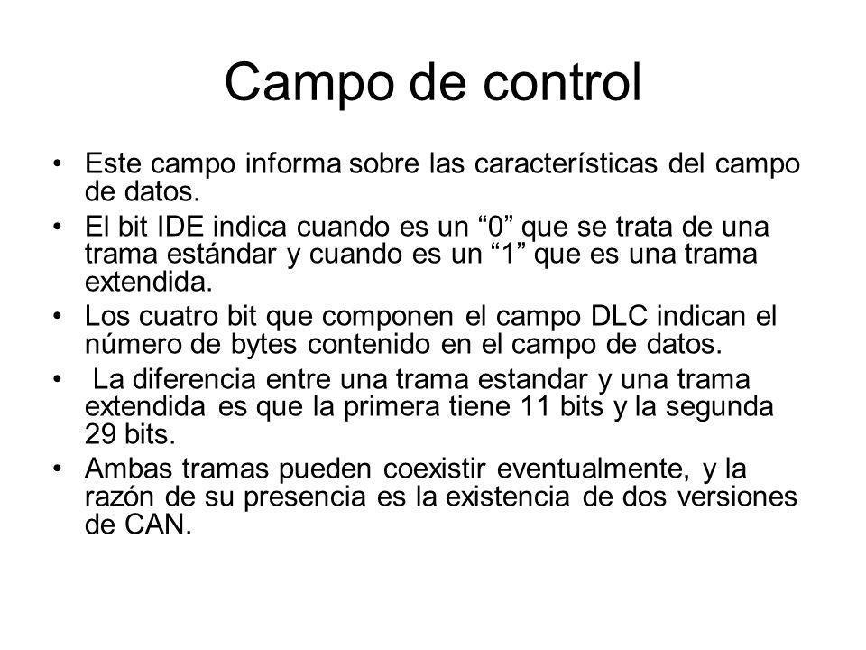 Campo de control Este campo informa sobre las características del campo de datos.