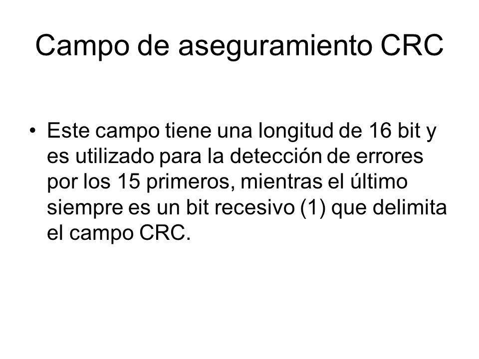 Campo de aseguramiento CRC