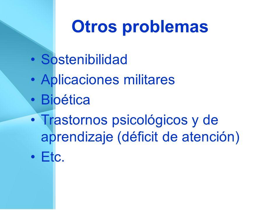 Otros problemas Sostenibilidad Aplicaciones militares Bioética