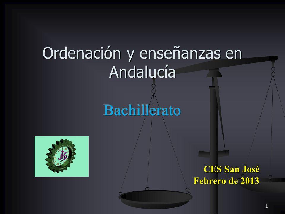 Ordenación y enseñanzas en Andalucía Bachillerato