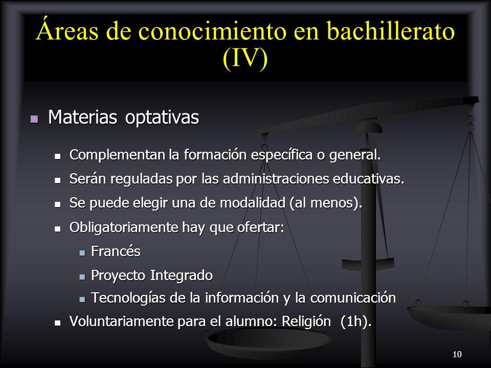 Áreas de conocimiento en bachillerato (IV)