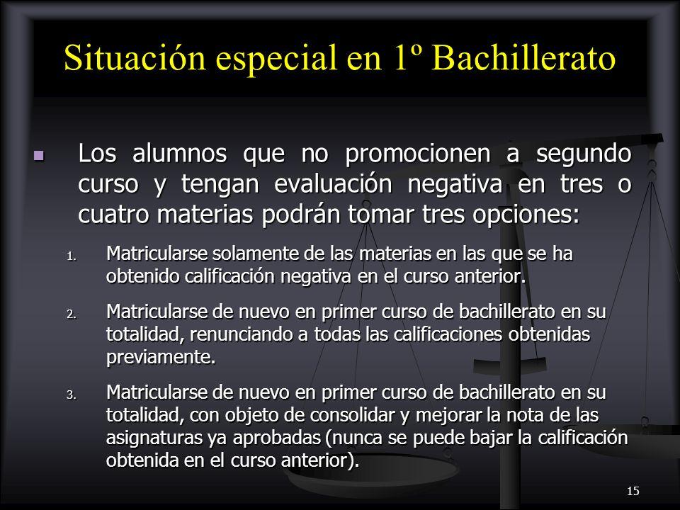 Situación especial en 1º Bachillerato