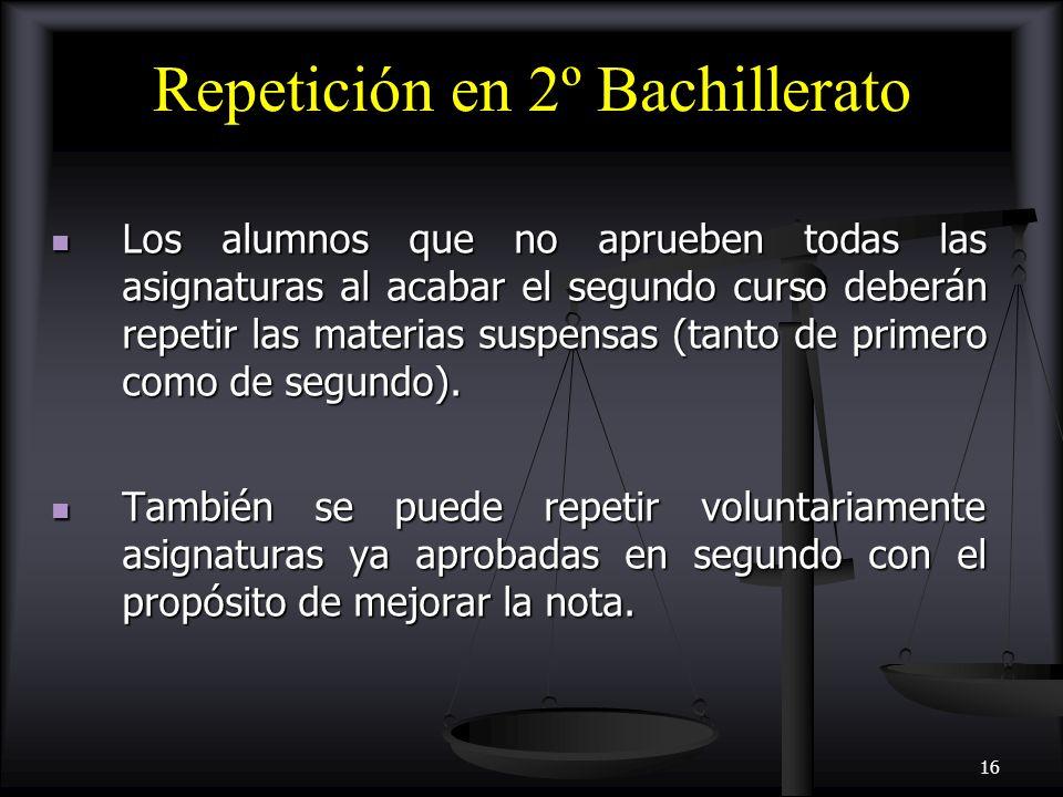 Repetición en 2º Bachillerato