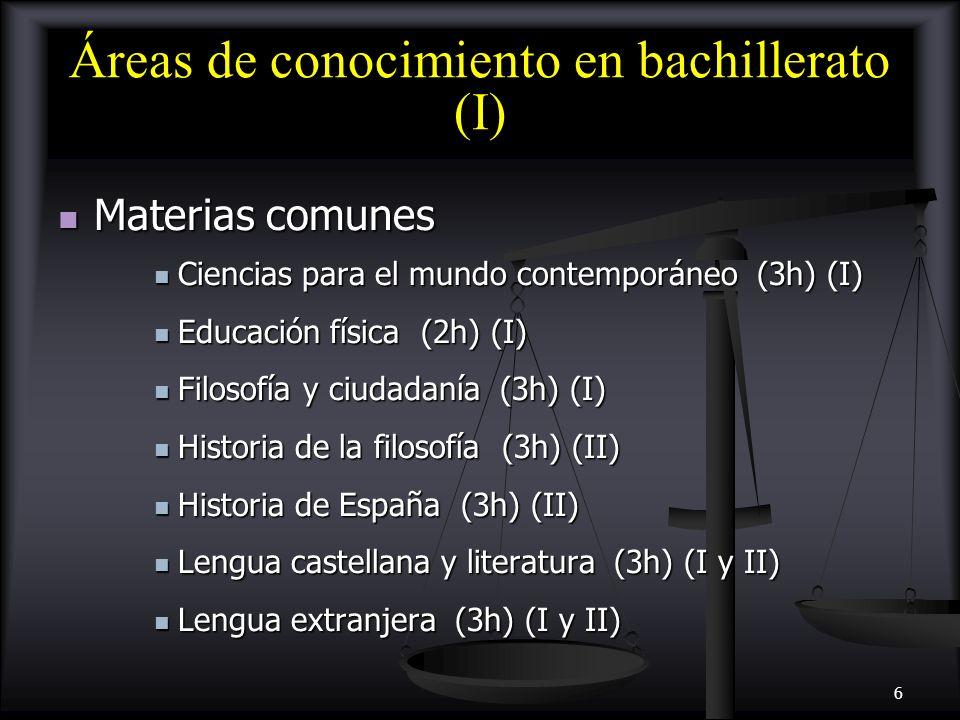 Áreas de conocimiento en bachillerato (I)