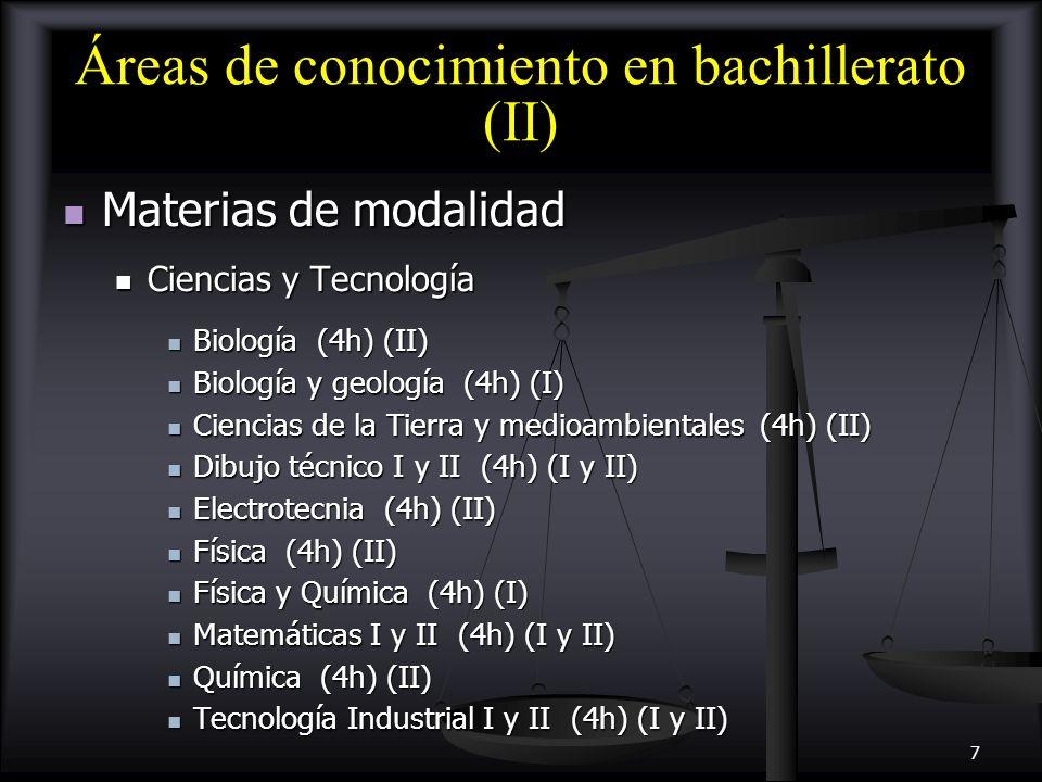 Áreas de conocimiento en bachillerato (II)