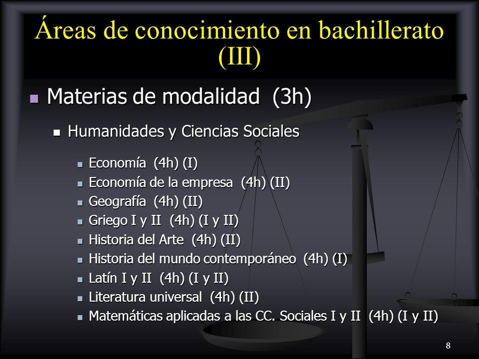 Áreas de conocimiento en bachillerato (III)