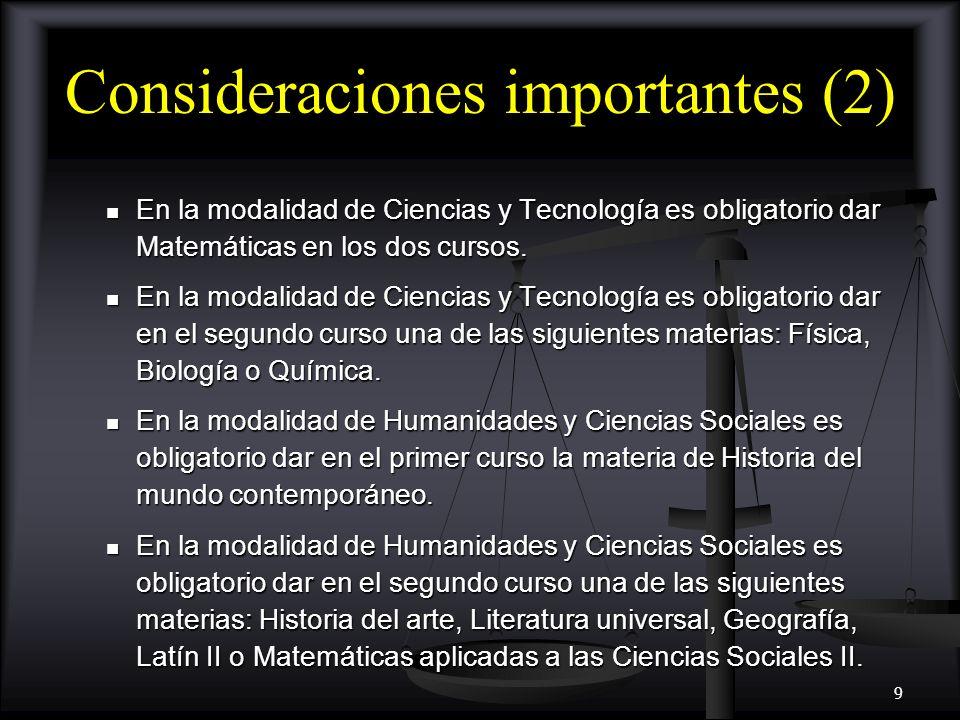 Consideraciones importantes (2)