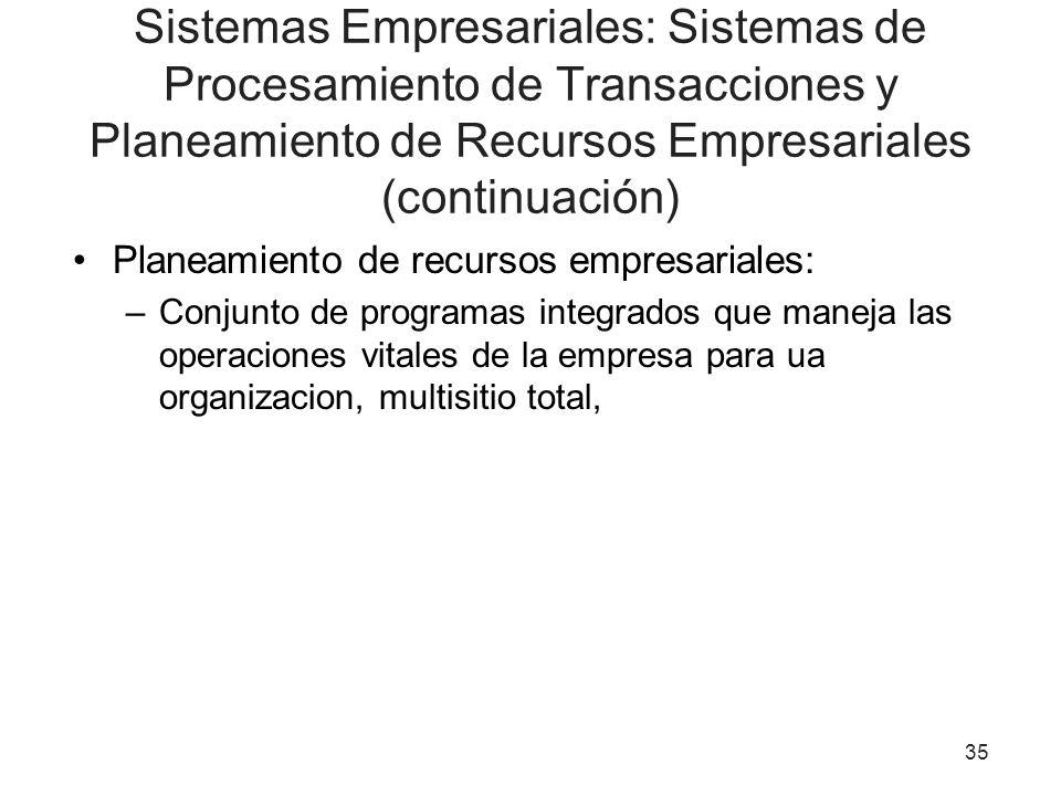 Sistemas Empresariales: Sistemas de Procesamiento de Transacciones y Planeamiento de Recursos Empresariales (continuación)