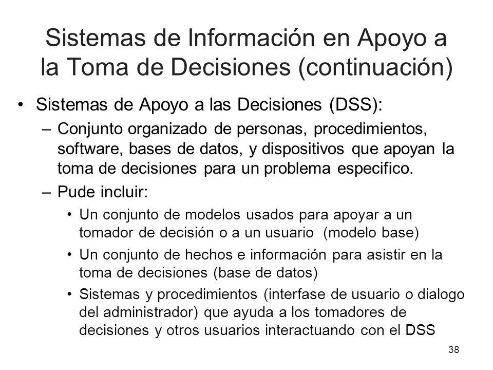 Sistemas de Información en Apoyo a la Toma de Decisiones (continuación)