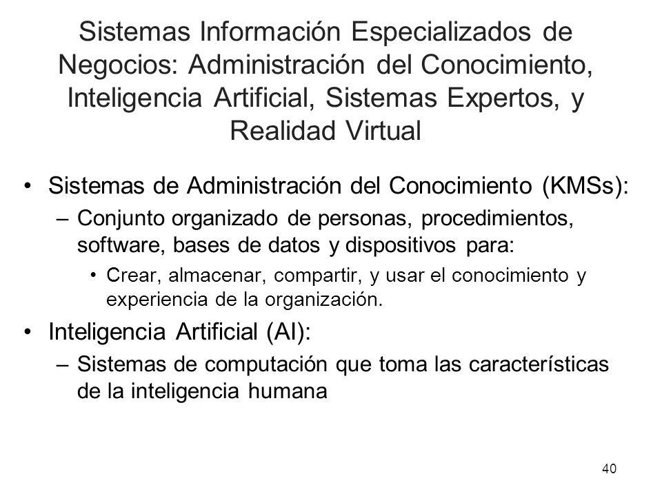 Sistemas Información Especializados de Negocios: Administración del Conocimiento, Inteligencia Artificial, Sistemas Expertos, y Realidad Virtual