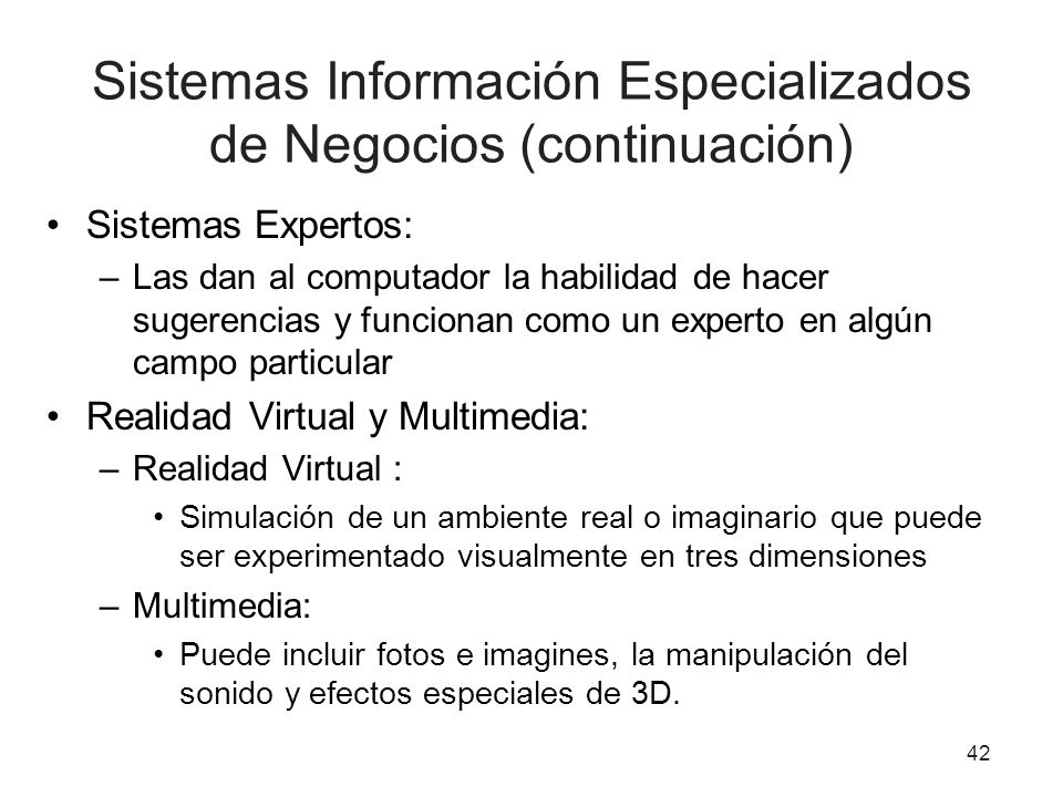Sistemas Información Especializados de Negocios (continuación)