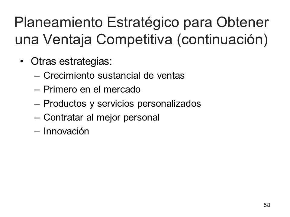 Planeamiento Estratégico para Obtener una Ventaja Competitiva (continuación)