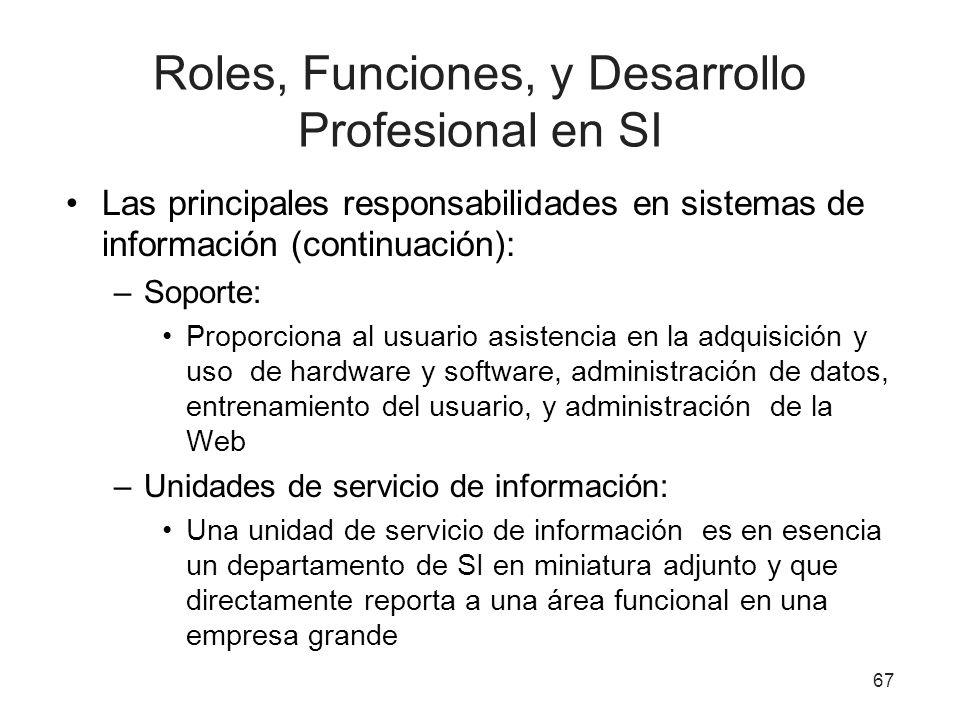 Roles, Funciones, y Desarrollo Profesional en SI