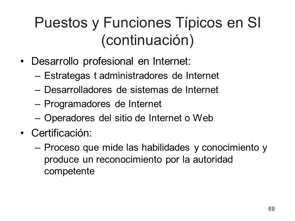 Puestos y Funciones Típicos en SI (continuación)