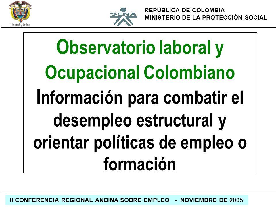 Observatorio laboral y Ocupacional Colombiano Información para combatir el desempleo estructural y orientar políticas de empleo o formación