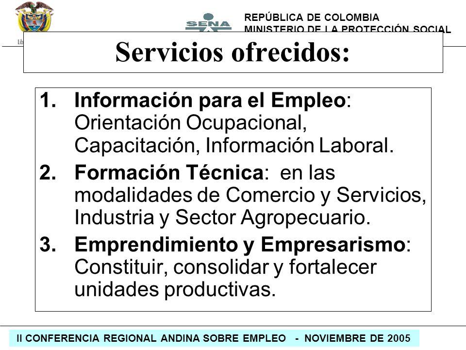 Servicios ofrecidos:Información para el Empleo: Orientación Ocupacional, Capacitación, Información Laboral.
