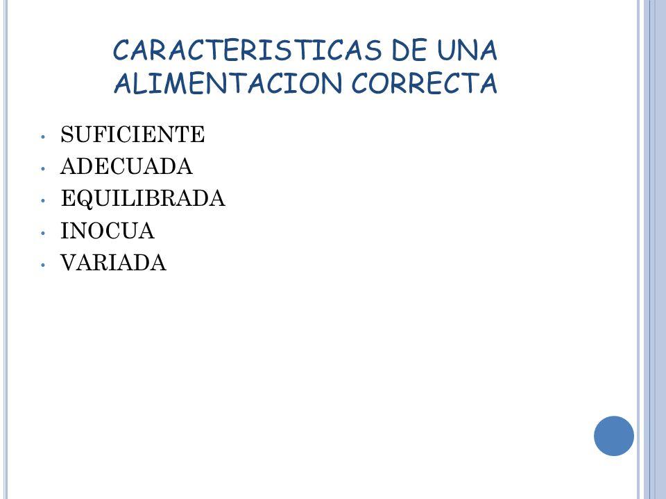 CARACTERISTICAS DE UNA ALIMENTACION CORRECTA