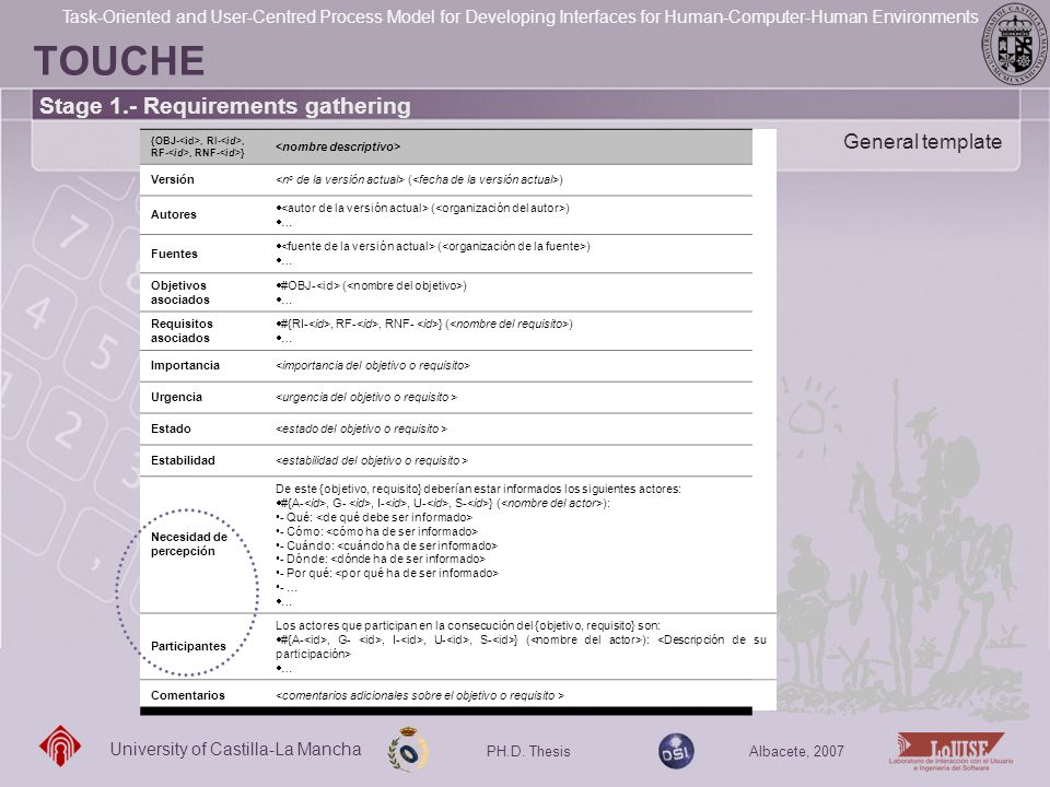 TOUCHE Stage 1.- Requirements gathering General template