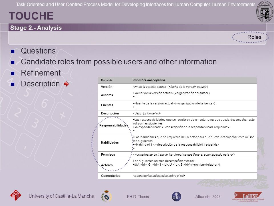 TOUCHE Stage 2.- Analysis. Roles. Questions. Candidate roles from possible users and other information.