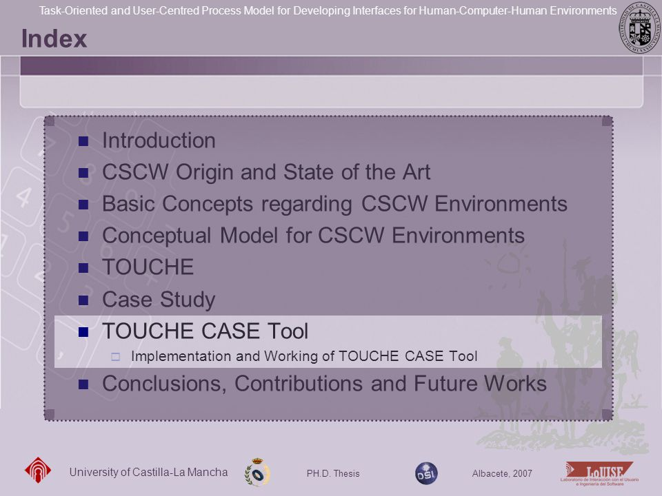 Index Introduction CSCW Origin and State of the Art