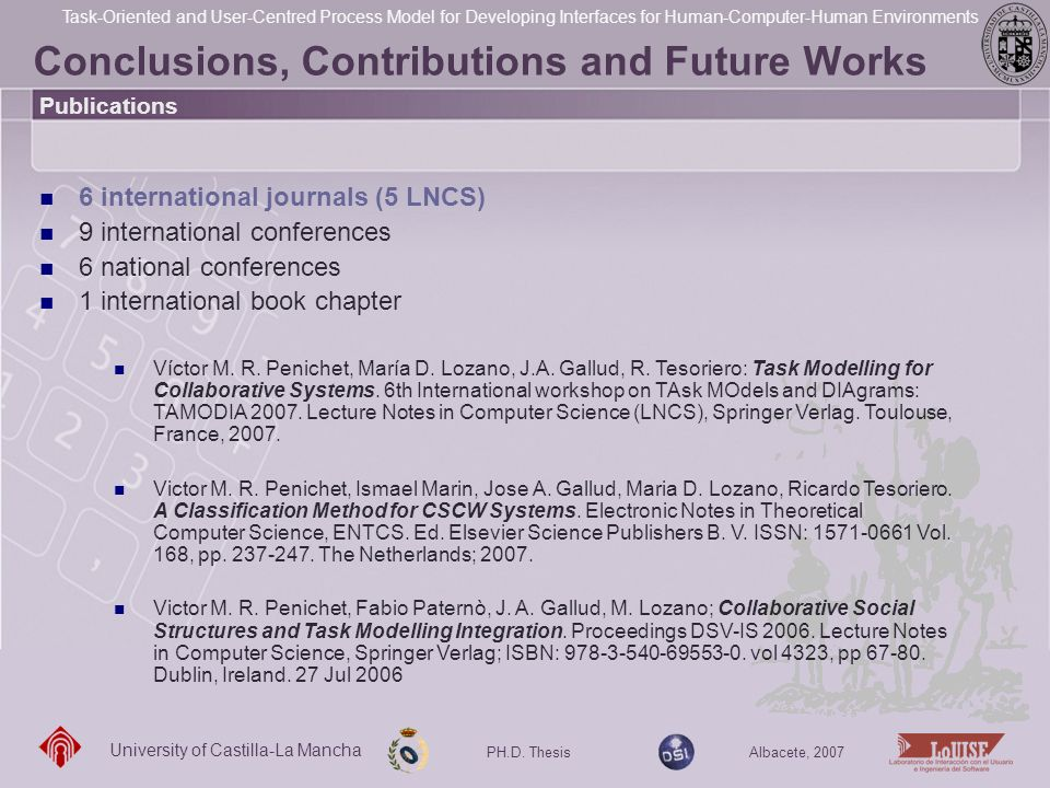 Conclusions, Contributions and Future Works