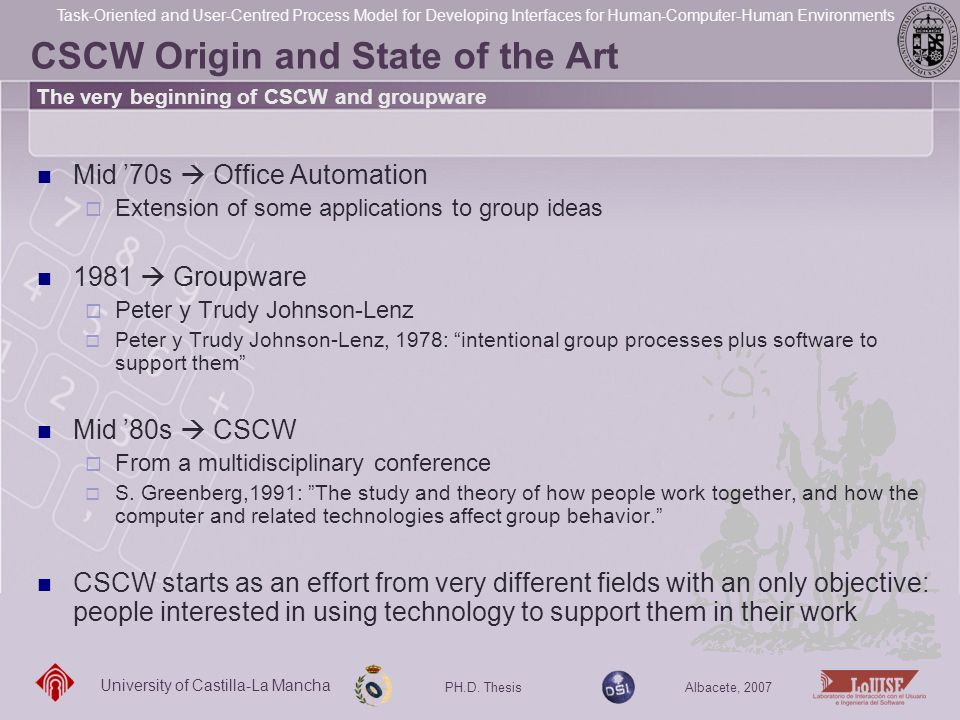CSCW Origin and State of the Art