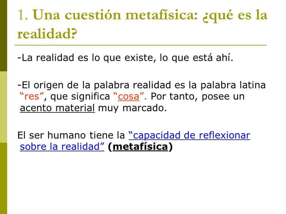 1. Una cuestión metafísica: ¿qué es la realidad