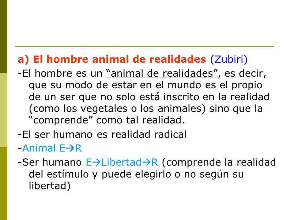a) El hombre animal de realidades (Zubiri)