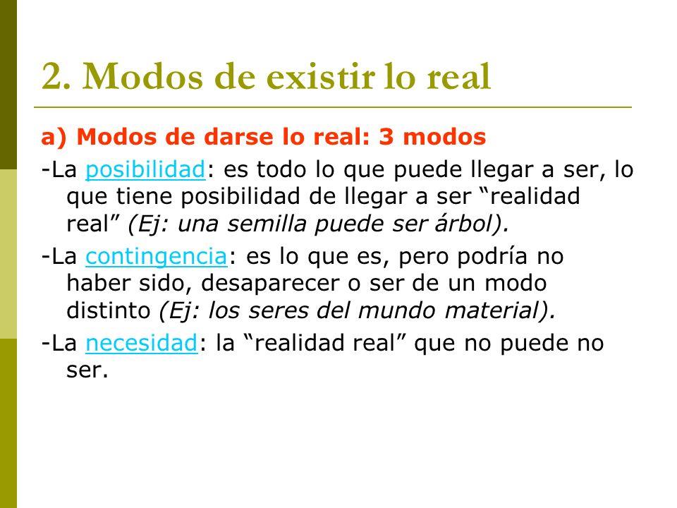 2. Modos de existir lo real