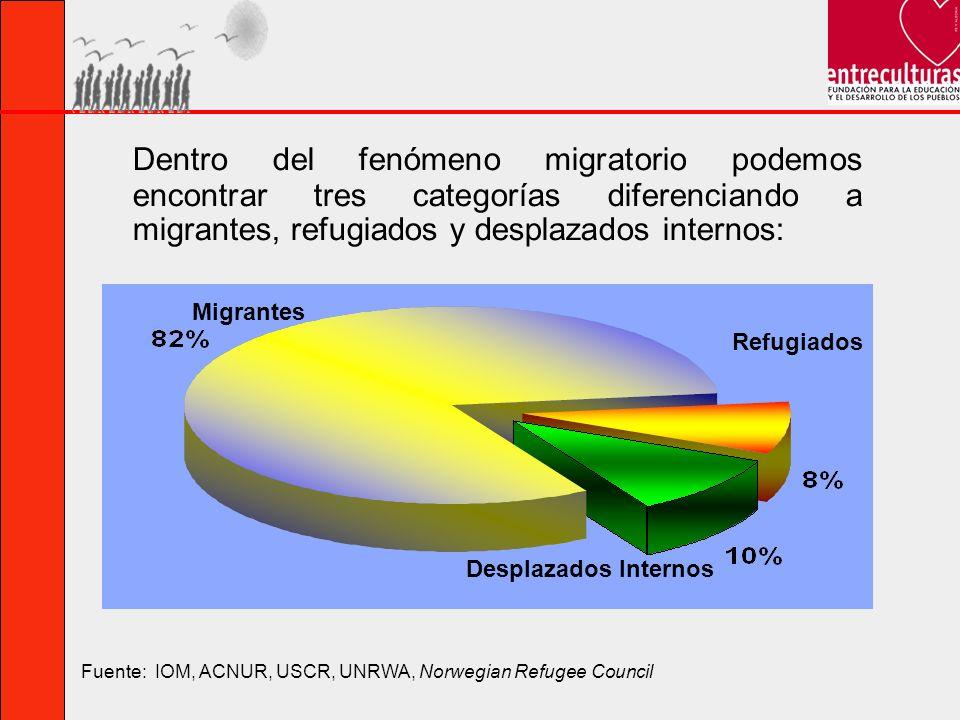 Dentro del fenómeno migratorio podemos encontrar tres categorías diferenciando a migrantes, refugiados y desplazados internos: