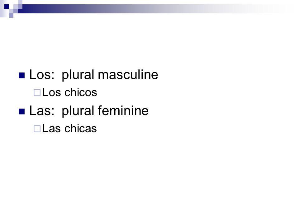 Los: plural masculine Los chicos Las: plural feminine Las chicas