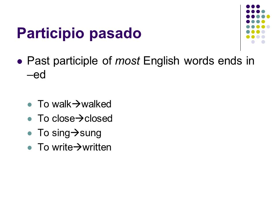 Past participle of write