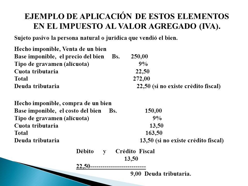 EJEMPLO DE APLICACIÓN DE ESTOS ELEMENTOS EN EL IMPUESTO AL VALOR AGREGADO (IVA).