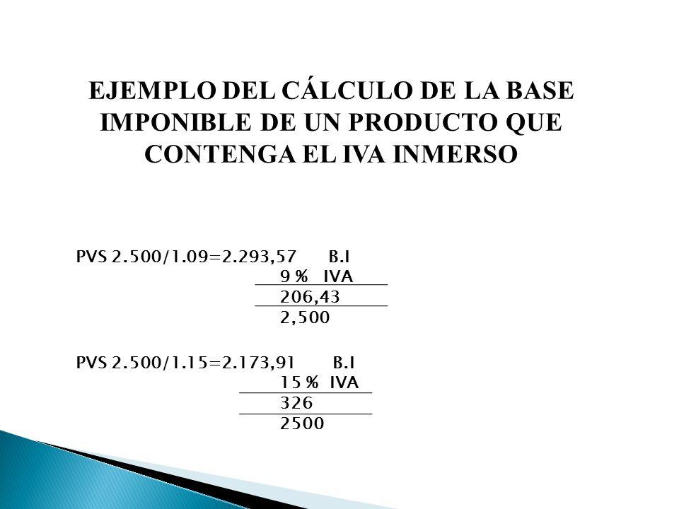 EJEMPLO DEL CÁLCULO DE LA BASE IMPONIBLE DE UN PRODUCTO QUE CONTENGA EL IVA INMERSO