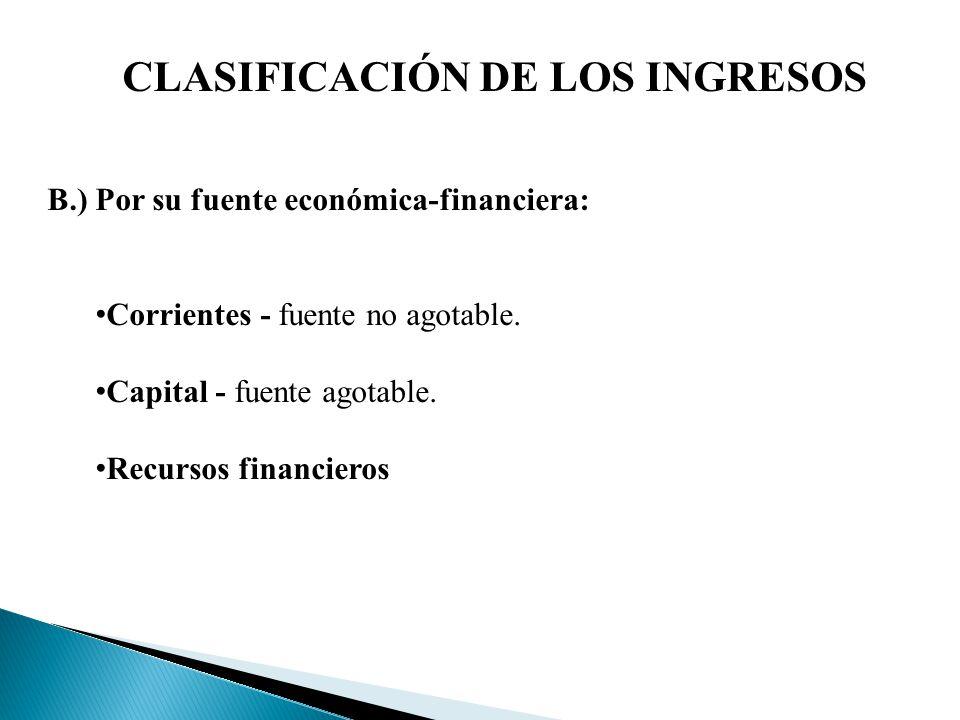 CLASIFICACIÓN DE LOS INGRESOS