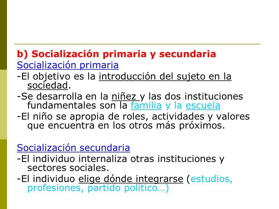 b) Socialización primaria y secundaria