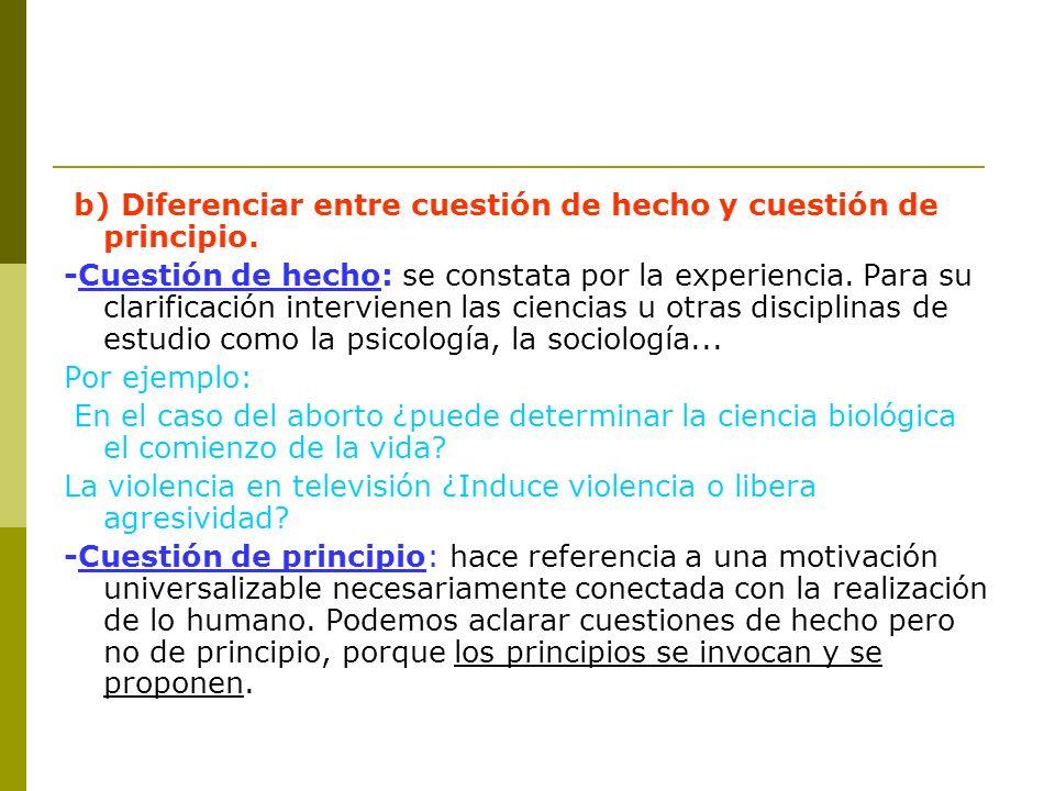 b) Diferenciar entre cuestión de hecho y cuestión de principio.