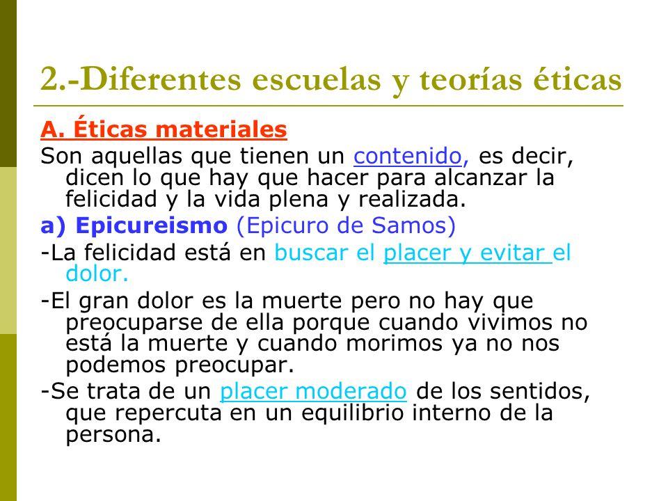 2.-Diferentes escuelas y teorías éticas