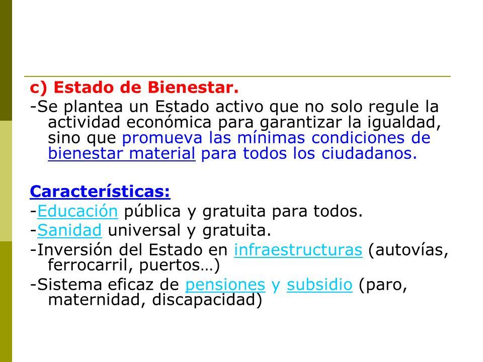 c) Estado de Bienestar.