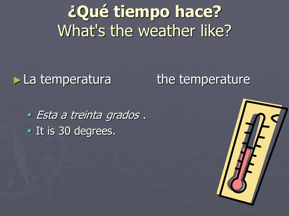 ¿Qué tiempo hace What s the weather like